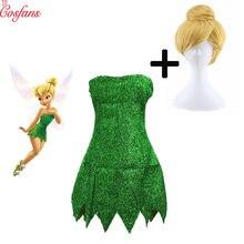 2019 nova fada pixie cosplay traje sininho verde adulto vestido tinkerbell festa de halloween sexy cosplay mini vestidos com peruca
