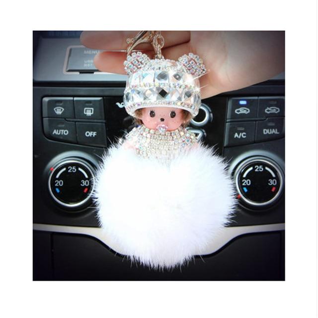 2017 Monchichi keychain rabbit fur pom pom Crystal new year gift Dolls Christmas for kid Key chain Women bag car charm pendant