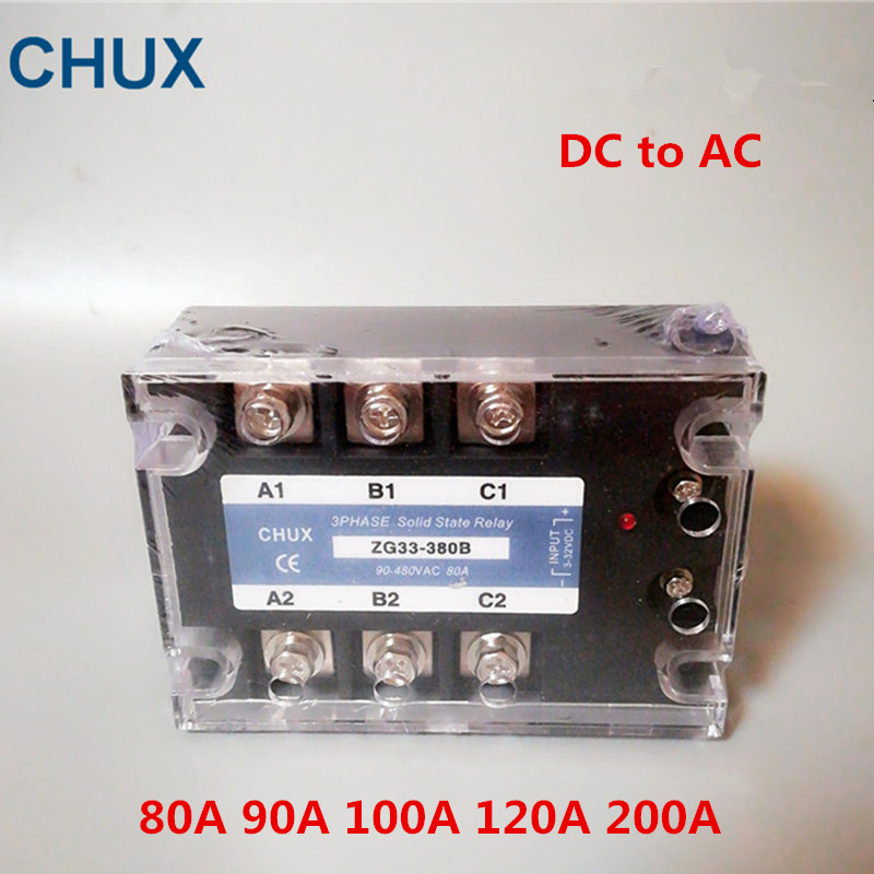 CHUX 3 Phases Solid State Relay DA 60a 80a 100a 120a 200A 90-480VAC ZG33 3-32VDC DC to AC Three SSR Relay wholesale genuine solid state relay ssr3 d48100hk 100a 24 480vac
