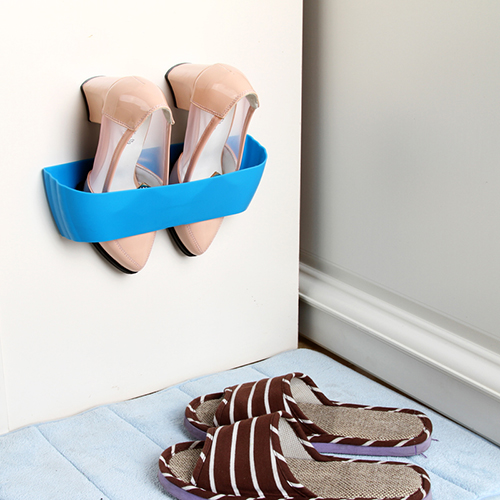 Creative three-dimensional wall-mounted shoe rack simple bathroom finishing paste drying storage