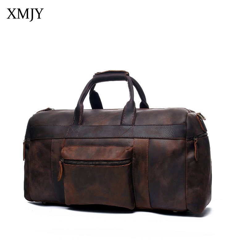 XMJY Genuine Leather Travel Duffle Bags Vintage Large Cow Leather Carry On Luggage Bag With Strap Men Weekend Travel Handbags canvas leather men travel bag carry on luggage bags men hand casual travel duffel bags tote large weekend bag overnight
