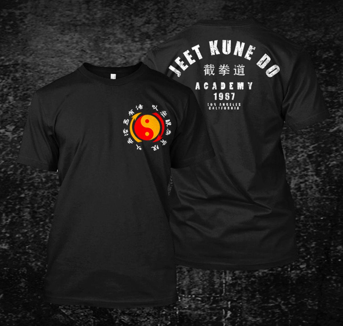 Venda quente jeet kune do academy t-camisa masculina de manga curta 100% algodão t camisa hip hop camisetas topos harajuku streetwear 1