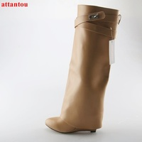 High Quality Apricot Woman Long Boots Wedges Height Increasing Knee high boots Metal Buckles Decor 2017 Autumn Winter Boot