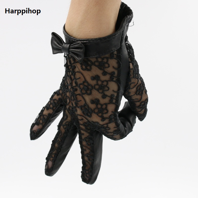 Harppihop New Short Genuine Leather Gloves  Lace Gloves Sexy Nappa Italian Women Leather Driving Mittens Gloves Free Shipping
