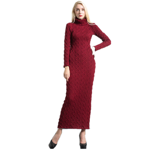 85e6c6ddad0 DF Long sweater Dress Plus size S- XXXXL 2018 Spring Women Long sleeve  Turtleneck Full Length Slim Knitted Pencil Dresses