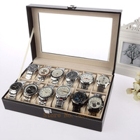 Pinhole lines Black 12 Grid PU Leather watch display box bracelet case decoration show case storage watch box with lid