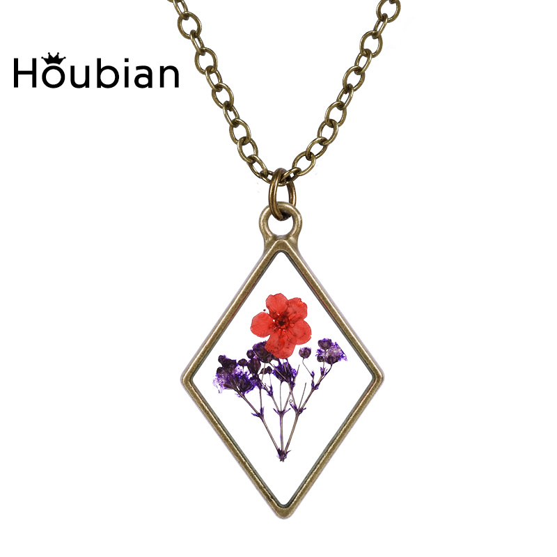 Time Gems Dried Flower Pendant Necklace Cute Forever Flower Pendant Necklace Rope Chian Charm Women Jewelry