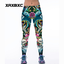 070 High Waist Workout Silm Fitness Women Leggings Elastic Pants Trousers For Sexy Girl Fashion cobra Skull Love Flower Print
