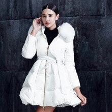 Fashion Casual Dress Down jacket Fold Bottom White Fox fur collar Long Slim Down coat Winter Thicken coat Women Girl Lovely XXL