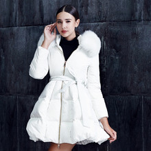 Fashion Casual Dress Down jacket Fold Bottom White Fox fur collar Long Slim Down coat Winter Thicken coat Women Girl Lovely XXL