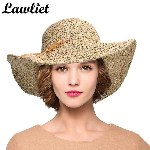 Lawliet Summer Women Sun Hats Glitter Womens Ladies Paper Crocheted Floppy  Crusher Medium Wide Brim Sun Roll Up Boat Hat T240 f45bbf42be8e