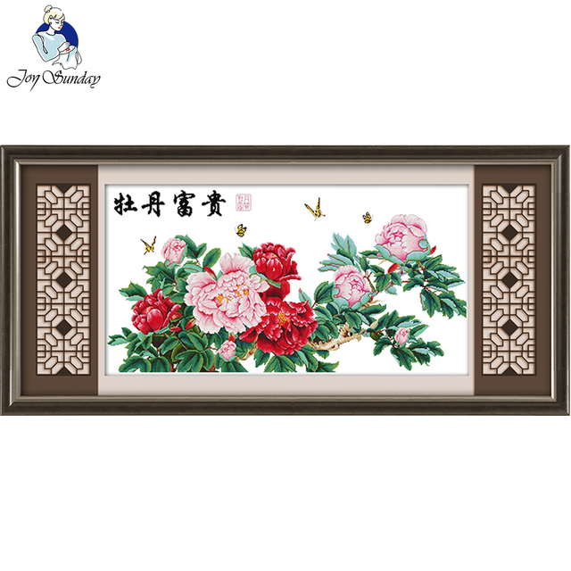 Joy Sunday Wealthy Peony Cross Stitch Patterns Flowers Beginner