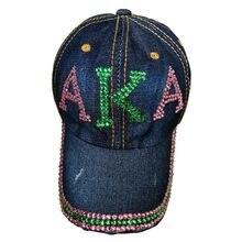 3954beb1596 Wholesale crystal stone Point AKA Sorority letters style Glass denim caps  women custom baseball cap Hat rhinestone