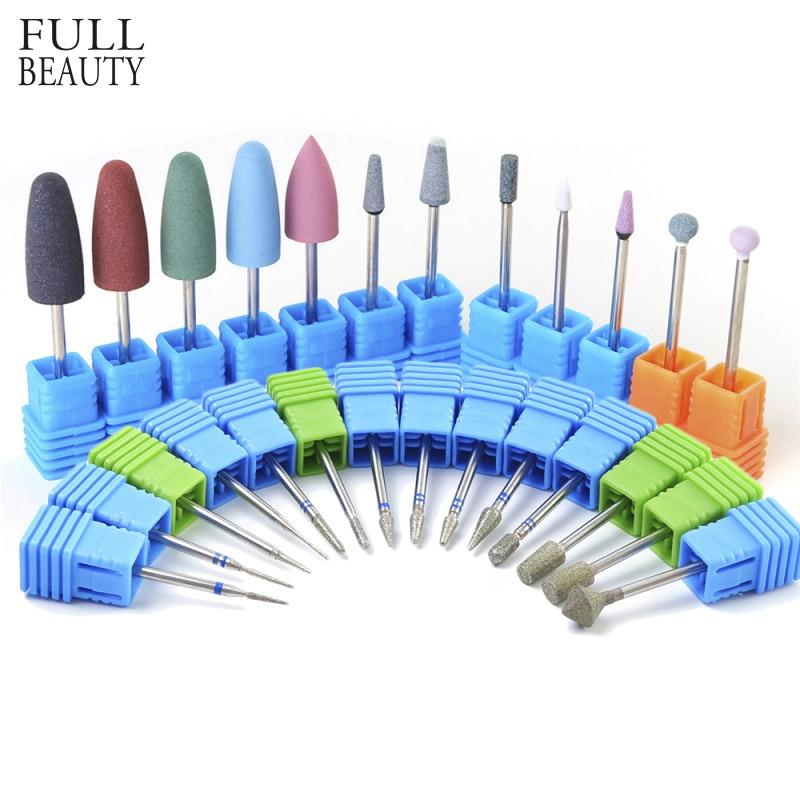 28 Type Electric Nail Drill Manicure Files Nail Art Gel Polish Remove Rubber Ceramic Diamond Mills Cuticle Cutter Bit CH065/056