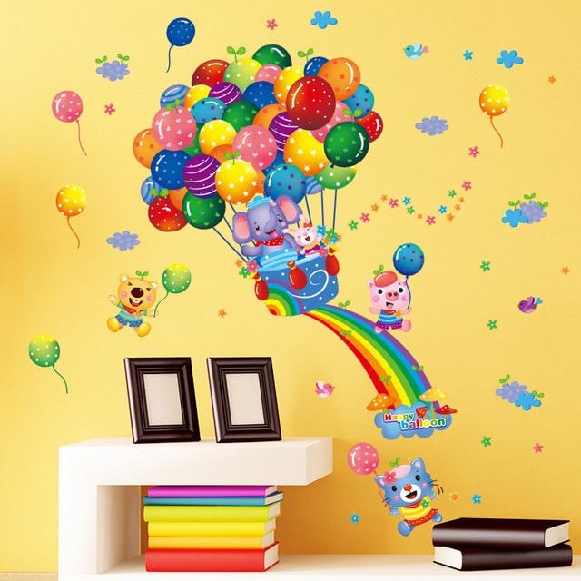 Colorfulballoon Rainbow Animals Wall Stickers Nursery Room Decor Cartoon Elephant Bear Pig Children S