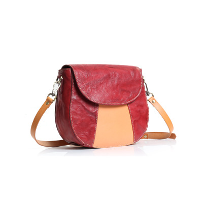 original creative women genuine leather saddle bag small color block one shoulder bag female vintage crossbody messenger bags vintage women s crossbody bag with color block and buckle design