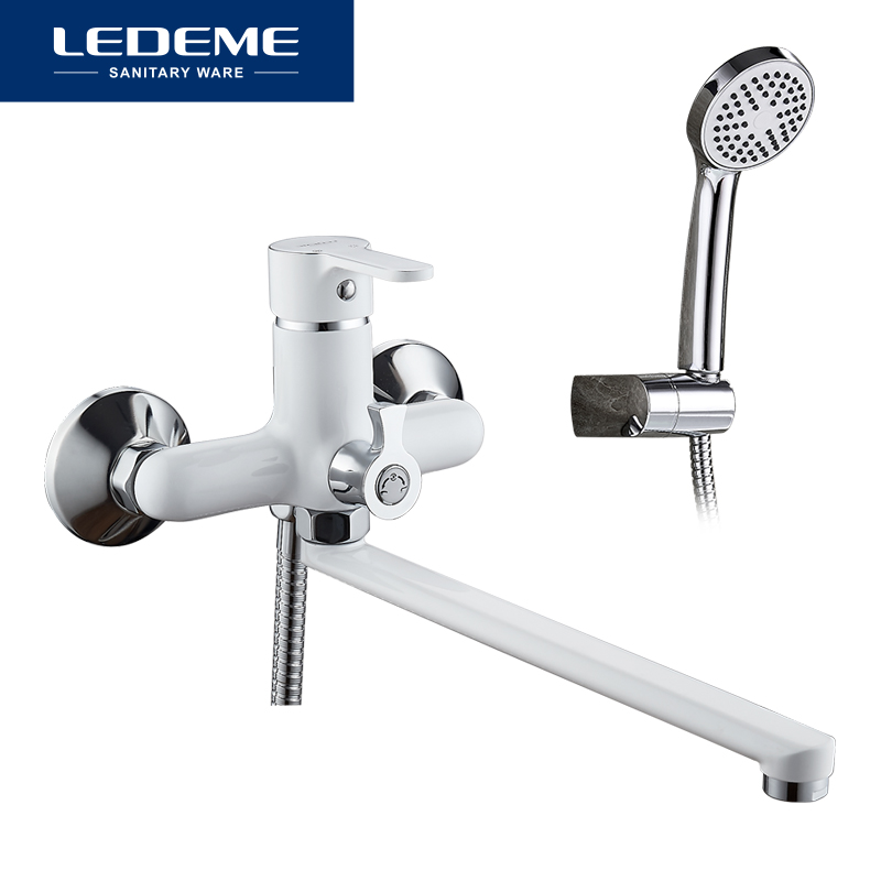 LEDEME Bathroom Shower Faucets Classic High Quality Wall Mounted Long Nose Bathtub Faucet Mixer Tap With Hand Shower Sets L2203W