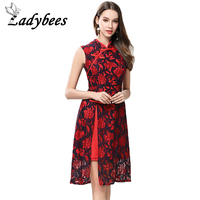 LADYBEES 2017 Summer Women Red Lace Dress Chiffon Side Split Elegant Floral Print Sleeveless Party Clothing