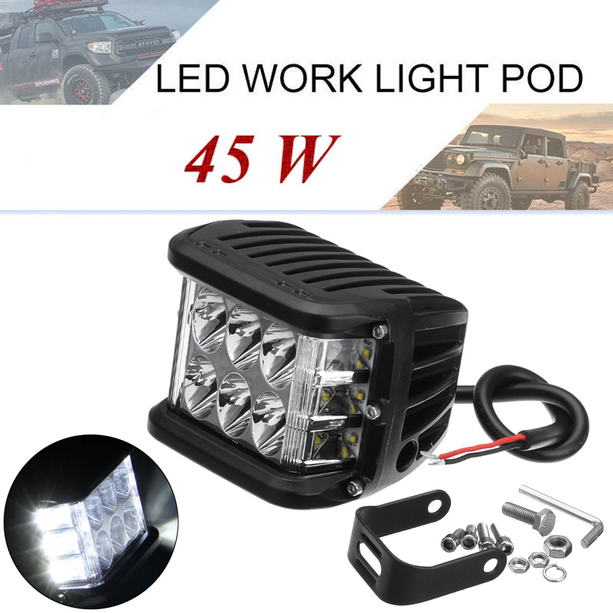 1Pcs 4inch White Car LED Bright Work Light Spot Beam 6000K 45W 9000LM Auto Day Lamp For ATV/SUV/Jeep/Truck/Boat