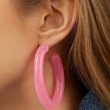 LUNA CHIAO, весна-лето, яркие цветные прозрачные серьги-кольца из смолы, прозрачные толстые акриловые круглые серьги для женщин