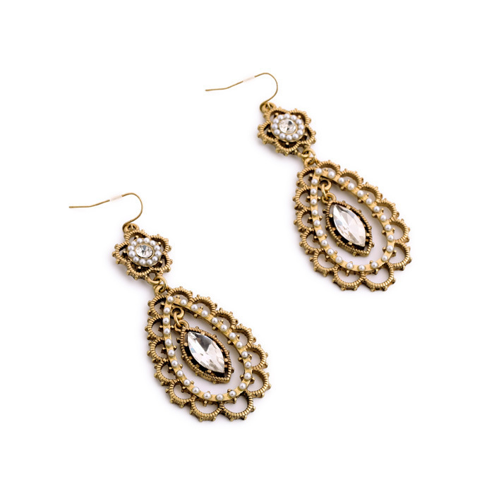 Vintage Hollow out Rhinestones Drop Earring Antique Gold Jewelry ...