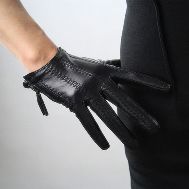 2018 moda quente tela de toque luvas couro real importado goatskin borla zíper curto preto modelos femininos