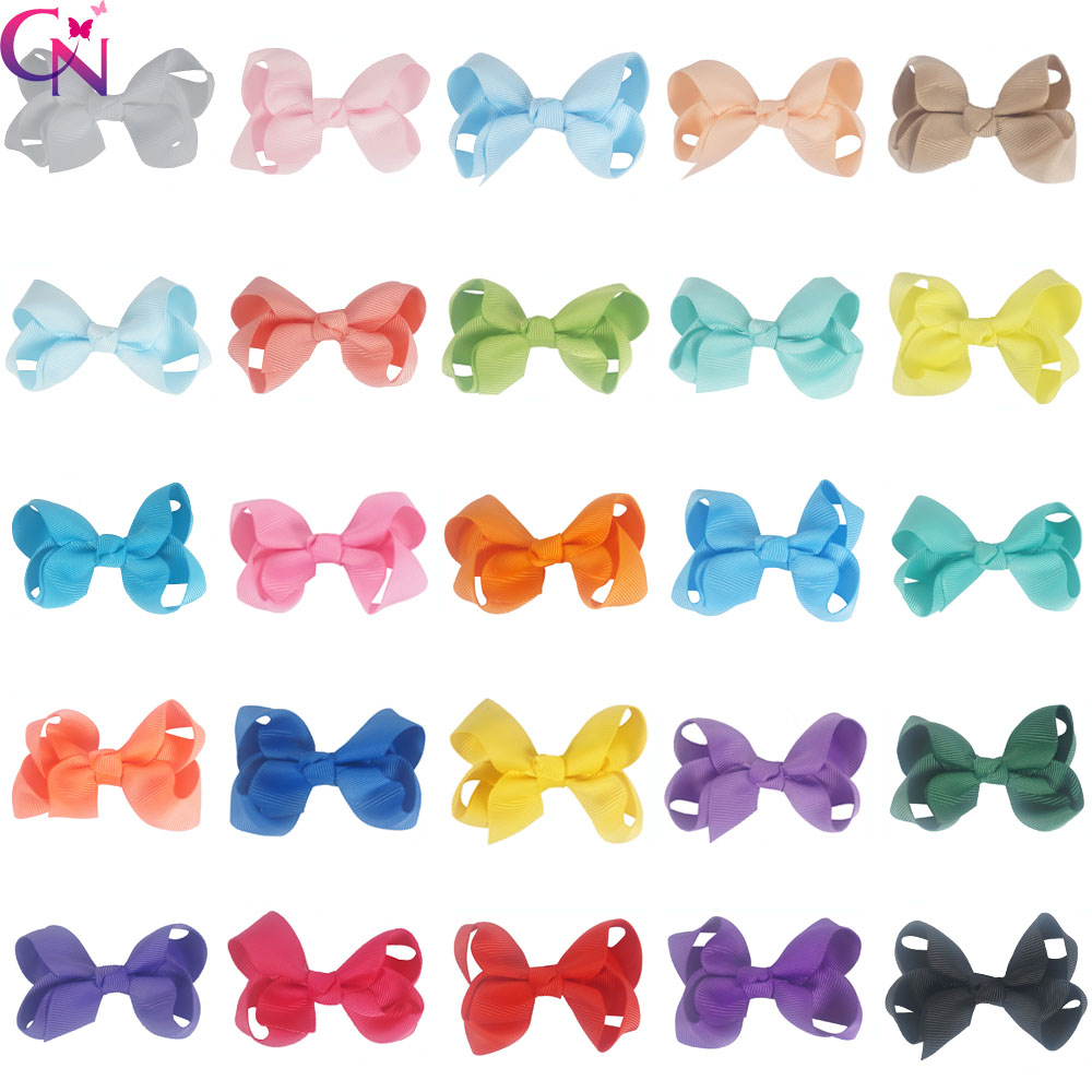 50 Pieces/lot 3 Small Hair Bows Hair Clips Pins For Kids Girls Fashion Mini Boutique Plain Ribbon Knot Bows Hair Accessories kitavt75417unv10200 value kit advantus id badge holder chain avt75417 and universal small binder clips unv10200