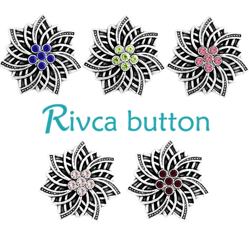 Rivca Snap Button Bracelets For Women 2017 New Ancient Silver Plating 18mm Rhinestone Snap Button Charm Bracelets jewelry D03332