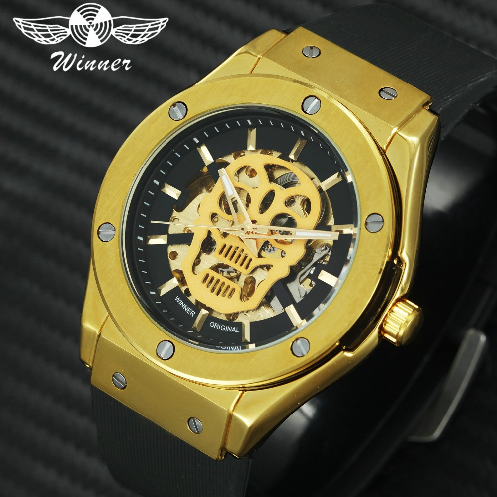 WINNER Royal Gold Skull Automatic Watch Men Skeleton Mechanical Sport Watch Rubber Band Halloween Wristwatch Top Brand Luxury high power t8 tube led 600mm tube lamp 9w 10w 2ft 3ft t8 led tube light 600mm 220v led tube fixture for home lighting