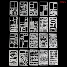 Journal-Stencil-Set Planner Craft Drawing-Template Diary-Decor Bullet Plastic DIY 20pcs