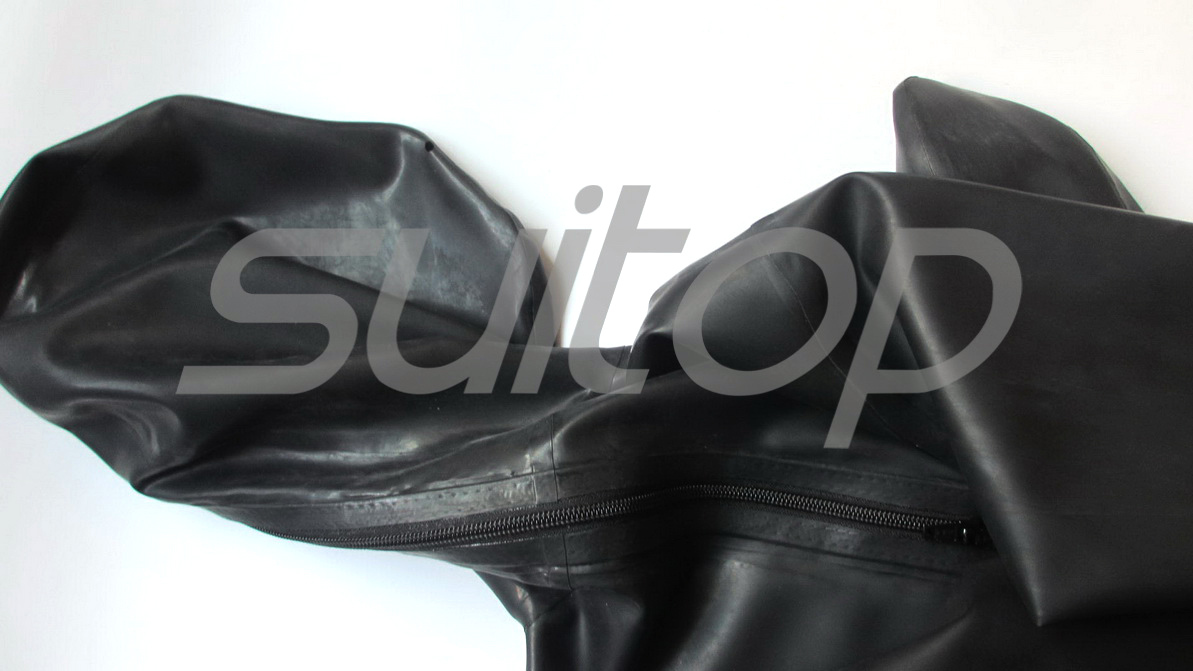 Suitop Men's full cover body latex catsuit rubber zentai with penies condom for male(back zip)(open nose only)