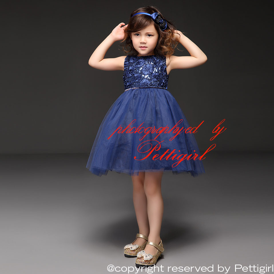 Girls blue party dress good dresses 2016 pettigirl sleeveless navy blue flower infant baby girl wedding birthday party dress retail hot kids ombrellifo Image collections