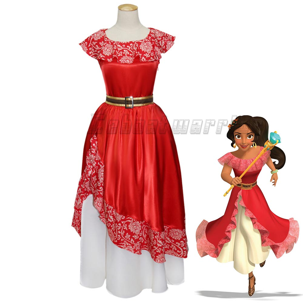 2018 New Elena of Avalor Princess Elena Cosplay Costume Red Fancy Dress For adult