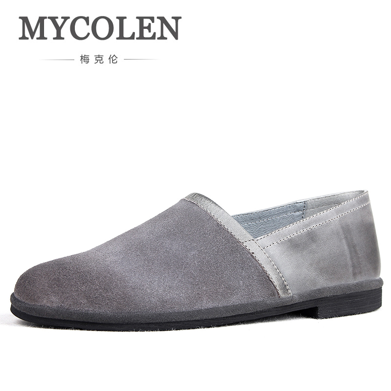 цены MYCOLEN 2018 Men Casual Leather Loafers Luxury Fashion Solid Leather Driving Moccasins Slip On Men Loafers Shoes Male Loafers