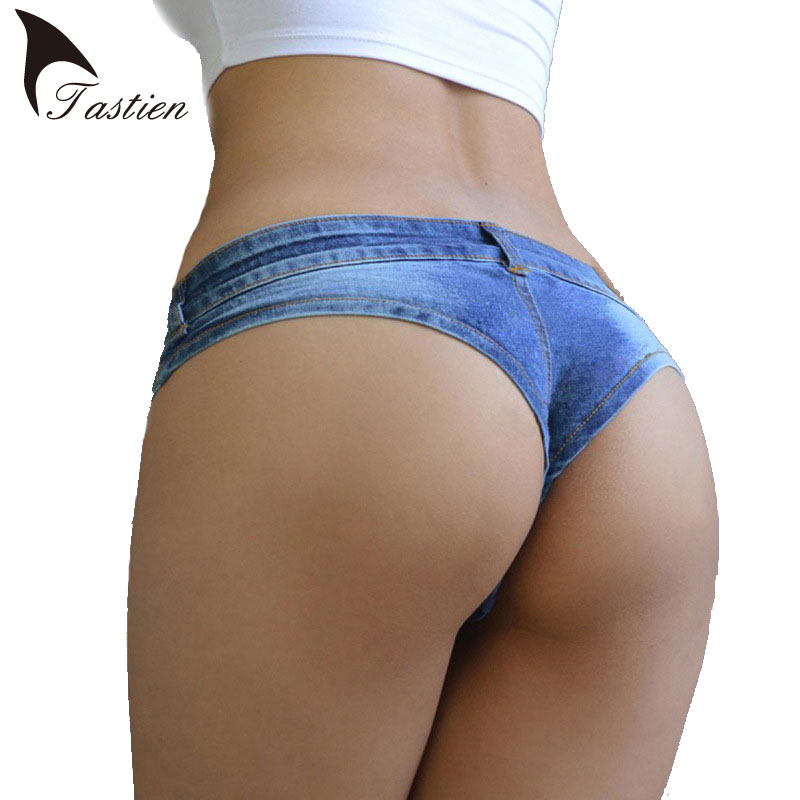 TASTIEN Brand Womens Sexy Super Short Denim Shorts Summer Fashion Cotton Double-button Ladies Skinny Super Shorts Jeans Girls lingerie top