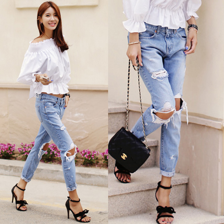 Women Denim jeans Cotton Jeans Female Loose Low Waist Washed Vintage Big Hole Ripped Long Pencil Pants c0103