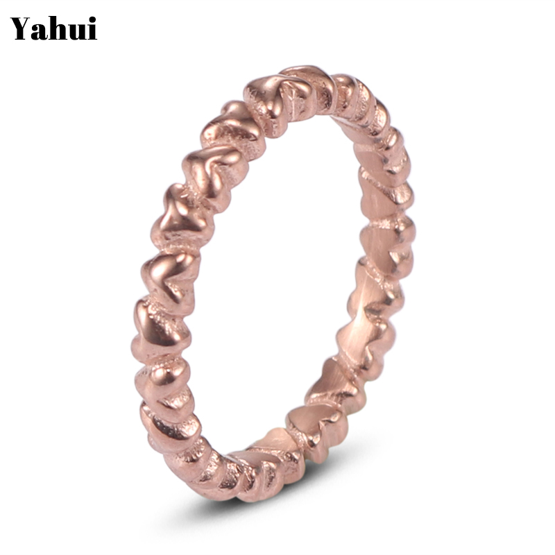 YaHui stainless steel simple heart gold silver Rose ring rings for women accessories jewellery gifts