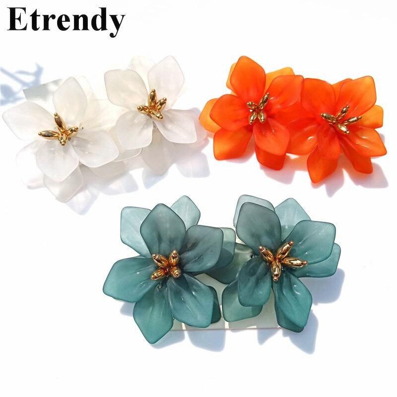 Женские акриловые серьги в форме цветка, вечерние богемные серьги оранжевого или белого цвета, эффектные украшения