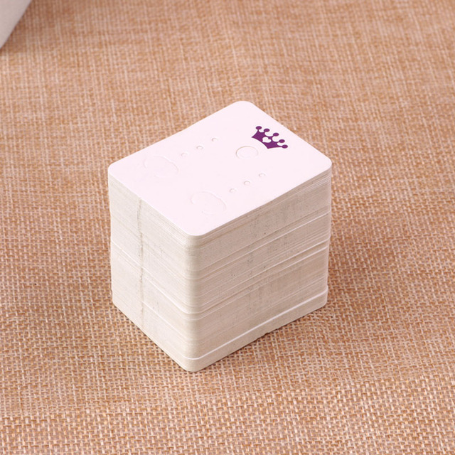 The Sole Custom Earring Display Cards 200pcs Lot White With Print Crown Paper Jewelry