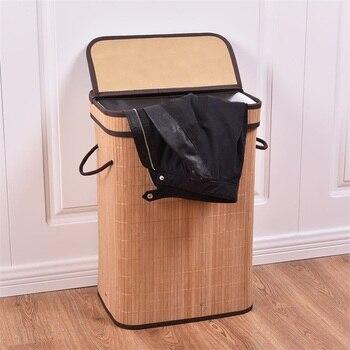 Cesta de lavandería Rectangular de bambú con un forro interior extraíble cesto de lavandería funcional y elegante HW54488