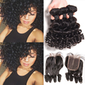 8A Short Weave With Closure Brazilian Virgin Hair Bob Weave With Closure Brazilian Loose Curly Human Hair 3 Bundles With Closure