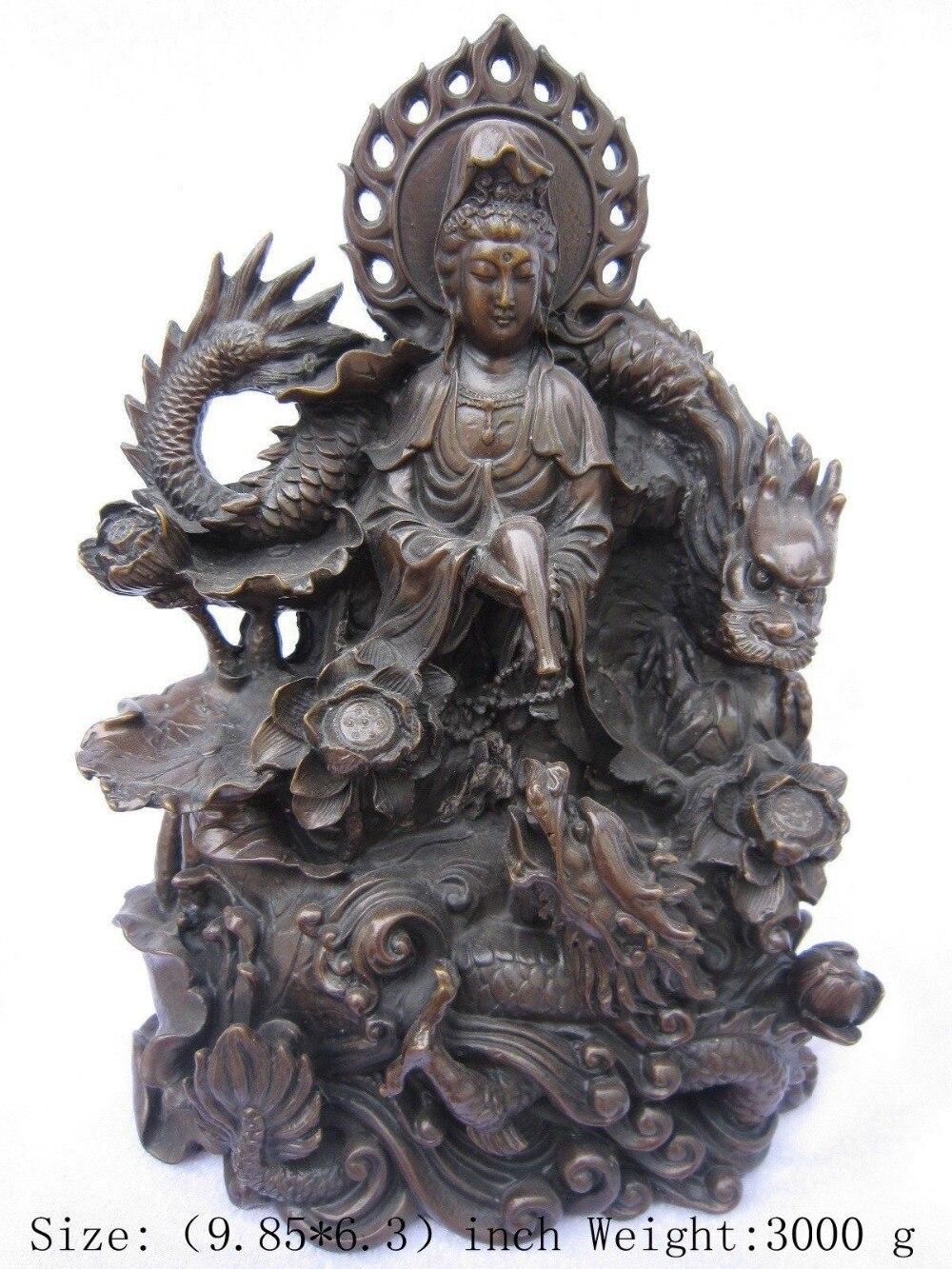 Ремесла статуя Китайский древний Тибет медь дракон, гуаньинь статуя