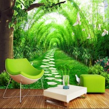 beibehang Large custom fresh bamboo forest road 3D TV living