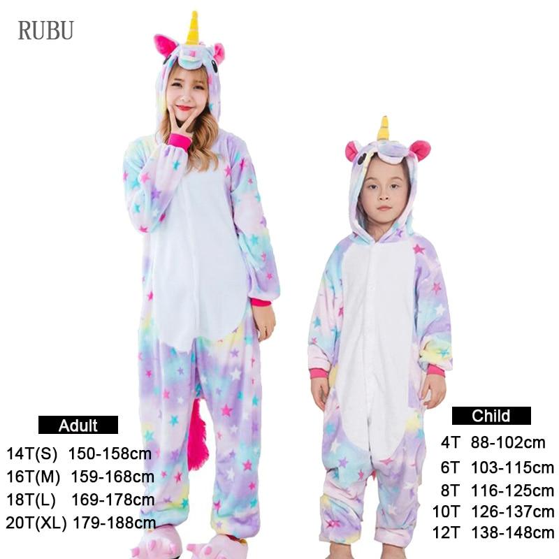 Flannel kids   pajama     set   winter animal adult star unicorn   pajamas   for women men warm pyjamas kigurumi onesie boys girls sleepwear