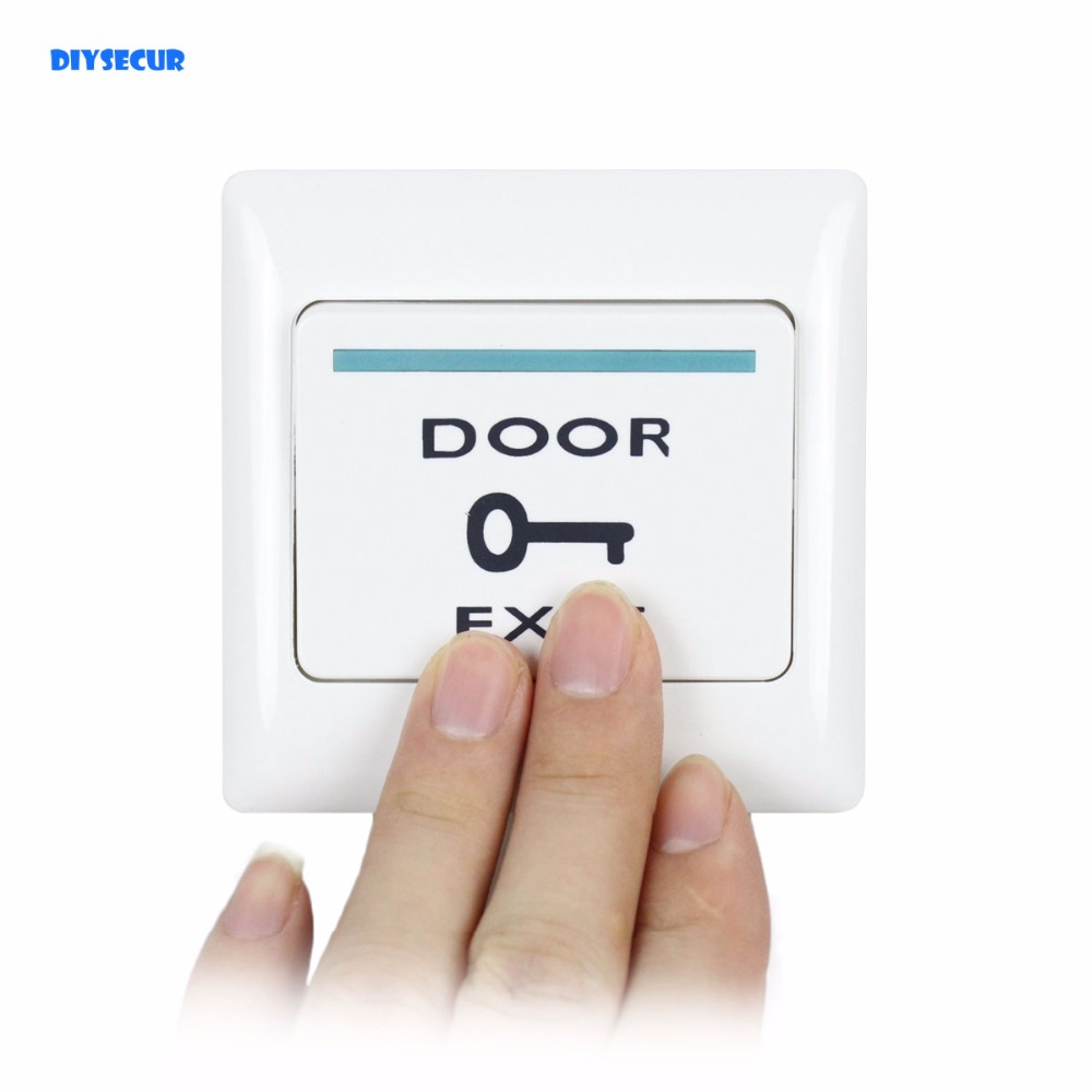 DIYSECUR Hot Sales Push Door Release Exit Button Switch For Electric Access Control System White exit button white plastic exit push release button switch for door access control electric magnetic lock access control winte