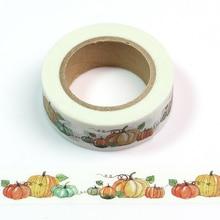 1PC 1.5cm*10m Kawaii Halloween Pumpkin Washi Tape Japanese Stationery Scrapbooking Tools Masking Adhesiva Decorativa