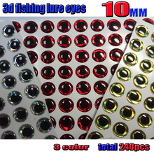 2016 new 3d fishing lure eyes 10MM  silver 80pcs+ red 80pcs+gold 80pcs in total 240pcs/lot