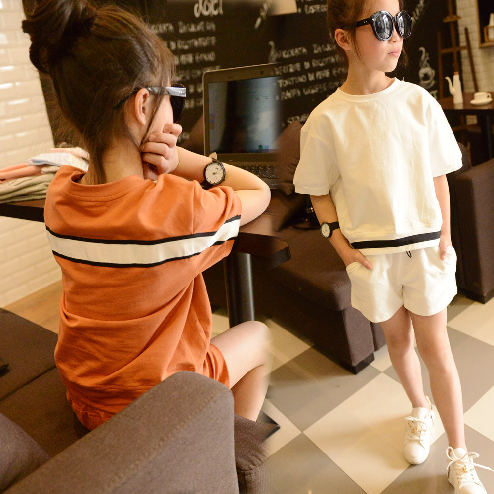 Kids Casual Sport Suits Short Sleeve Patchwork T-shirt For Girls Shorts Two-piece Children Clothing Sets Roupas Infantis Menina