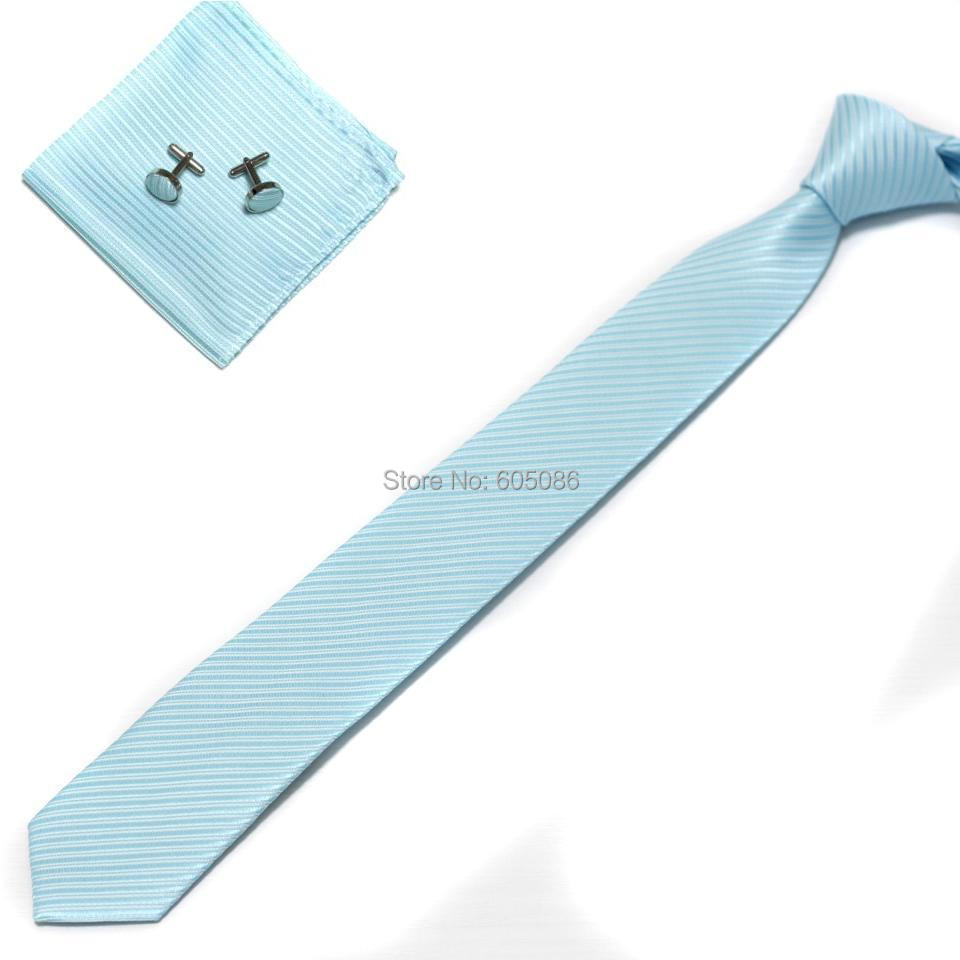 HOOYI 2018 Solid blue mens slim neck tie set Hanky cufflinks