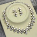 Dark Silver Plated Ivory Pearl and Rhinestone Crystal Wedding Necklace and Earrings Jewelry Sets